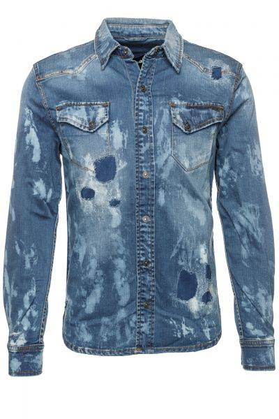 Jeanshemd Fred reworked in Blau
