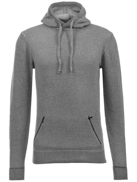 Pullover Maglia Cappuccio in Grau