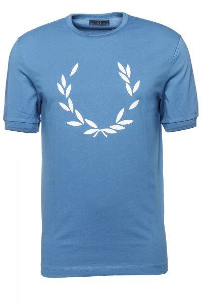 T-Shirt Partial Laurel Printed in Blau