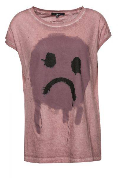 T-Shirt Dropout Smiley in Rosa