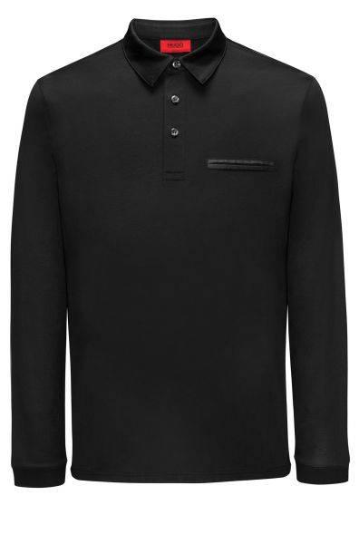 Langarm-Poloshirt Dwoon in Schwarz