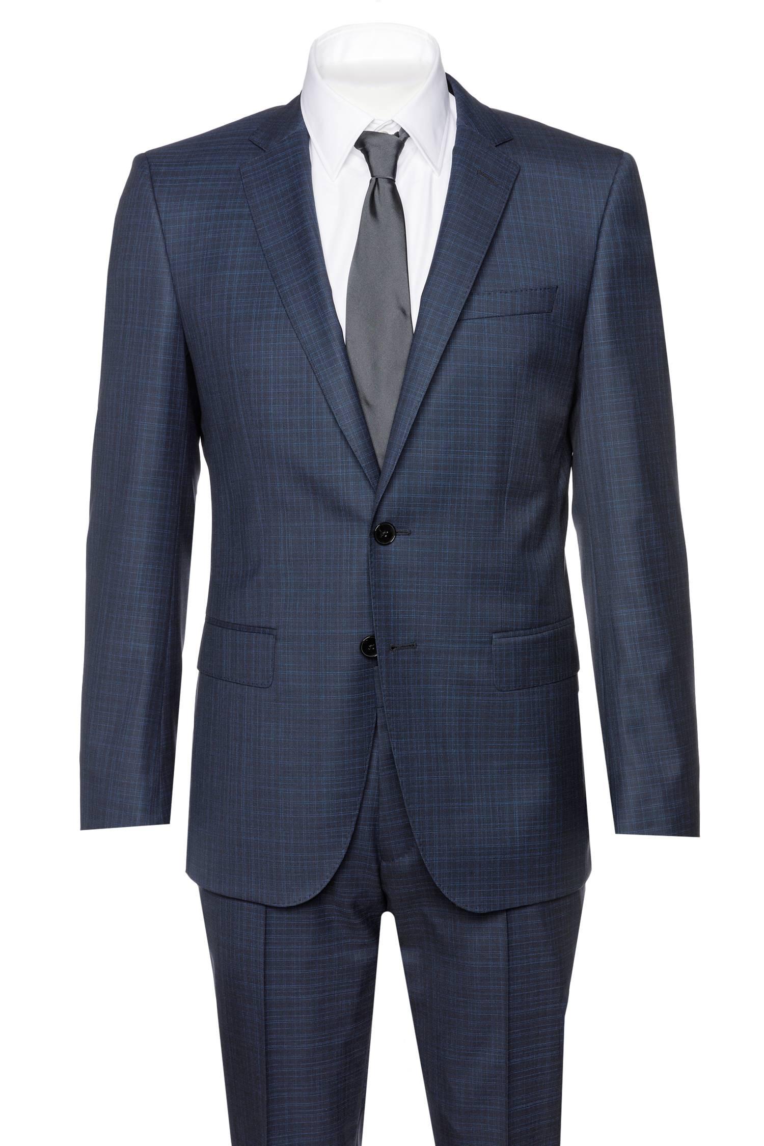 500e473fff52 BOSS Anzug Huge6 Genius5 Blau Karo NEU Business Slim Fit   eBay